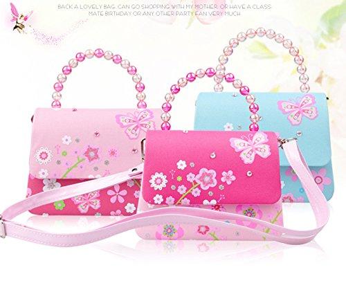 Happy Cherry Klein Mädchen Tasche Prinzessin Tasche Kinder Umhängetasche PU Leder Handtasche mit Blumen Druck Kindertasche Pailletten Größe 16.2 x 6 x 12.5 CM - Rosa Rosa