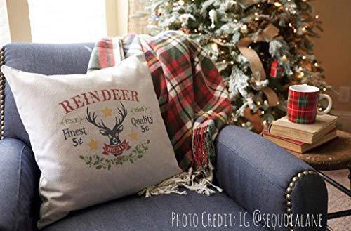 auernhaus Kissenbezug Rentier behandelt Bauernhaus Weihnachten Kissenbezug Bauernhaus Throw Pillow Rustikale Weihnachten Kissenbezug ()