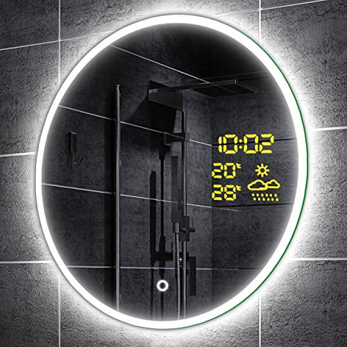 Alasta Design Lichtspiegel Rund Mit Led   60 cm   Delhi - Badspiegel Led   17 Zubehör zu Wählen Auf Größe