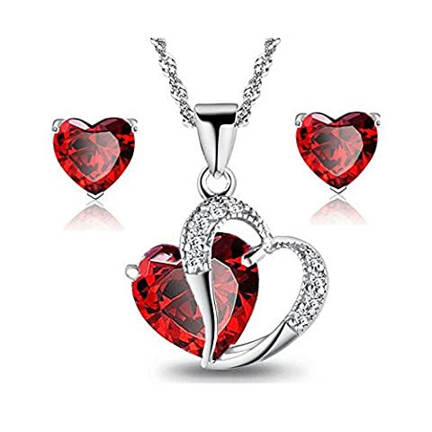 ZiZi Ruby Red ~ Lovers Double Heart Valentines Necklace & Earring Set ~ 18K White Gold Plated ~ Austrian Crystals ~ ZiZi Gift Box