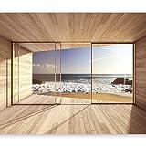 murando - Fototapete Meer Fenster 350x256 cm - Vlies Tapete - Moderne Wanddeko - Design Tapete - Wandtapete - Wand Dekoration - Meer See Natur Landschaft Fenster 3D Holz c-A-0084-a-d