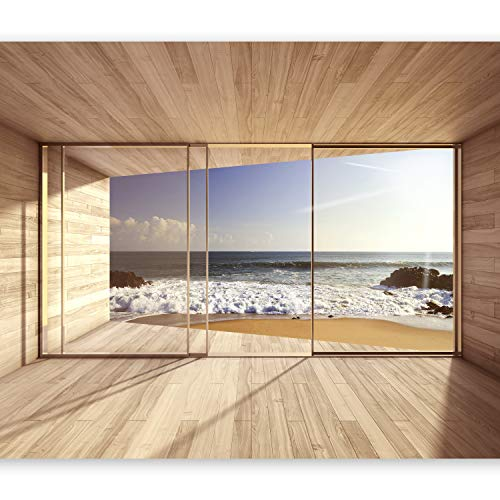 murando - Fototapete Meer Fenster 450x315 cm - Vlies Tapete - Moderne Wanddeko - Design Tapete - Wandtapete - Wand Dekoration - Meer See Natur Landschaft Fenster 3D Holz c-A-0084-a-d