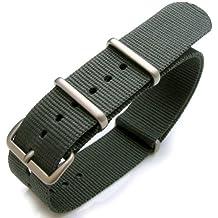 NATO - Correa para reloj de pulsera, 22mm, sellada con calor, nailon G10, hebilla cepillada, estilo militar, color gris