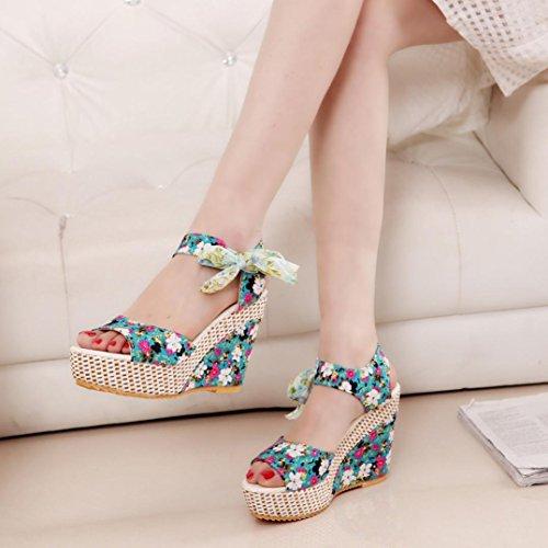 Saingace Frauen-Art- und Weisesommer-Blumendruck-Keil-hohe Absätze Sandelholze schnüren sich oben Schuhe Grün