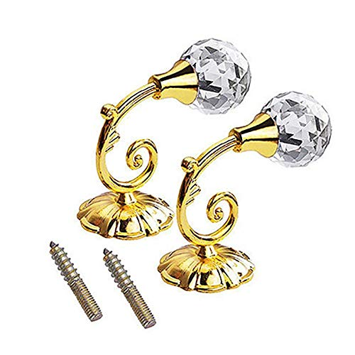 KOKOUK Curtain Holdback Decorative Crystal Glass Curtain Holdback Wall Hook Curtain Holdbacks Curtain Tieback Hook Holder for Home Office Decorative 1 Pair (Gold) -
