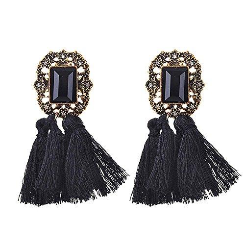 Domybest Vintage Folk Damen Kristall lange Seil Fringe Cotton Quasten Ohrringe/schwarz - Vintage Schwarz Folk Art