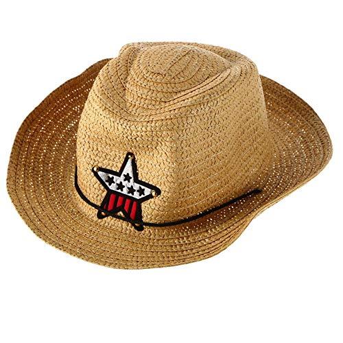 BFHCVDF Niños Vaquero Occidental Sombrero Sol Paja