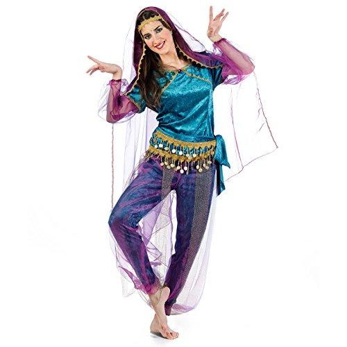 Elbenwald Bollywood Indische Tänzerin Kostüm Damen 4-tlg. Lila türkis - S