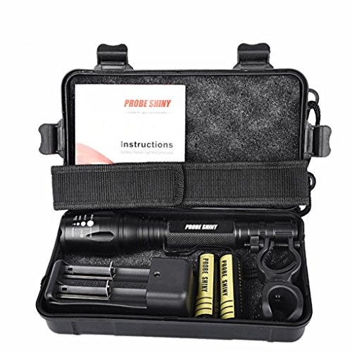 Flashlight 8000LM, Xjp Aluminum Alloy Zoomable Flashligh LED Torches Kit with 18650 Battery, Flashlight Holder, Flashlight Nylon Pouch Extended Battery Kit