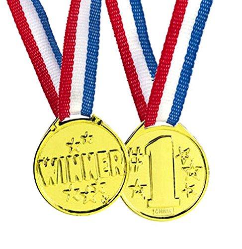 tück Golden Medaillen für Kinder Gewinner Preise | Gold Medaille für Sport Geburtstag Party Spiele | Siegermedaillen Wettbewerbe Kinderfeste Spielzeuge | Sieger Goldmedaille Stern ()