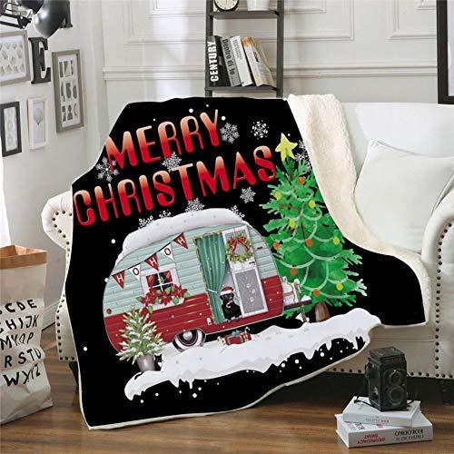 Blanchel Weihnachtsthema Design Doppelseitige Superweiche Kaschmirdecke Charle Home Schlafsofa Reise Campingdecke -