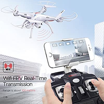 DoDoeleph Drone with Camera, Syma X5SW FPV Wifi Quadcopter Rc Drone, 2.4G 6-Axis Helicopter Headless Led Lights
