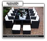 Ragnarök PolyRattan Essgruppe DEUTSCHE MARKE - EIGNENE PRODUKTION - Tisch 8 Stuhl 4 Hocker - 8 Jahre GARANTIE auf UV Beständig - Garten Möbel Glas Polster Möbeldesign schwarz Aluminium Rostfrei - 4