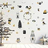 Stickers adhésifs Noël | Sticker Autocollant Animaux scandinave - Décoration Murale Scandinave - Fêtes de Noël | 30 x 40 cm