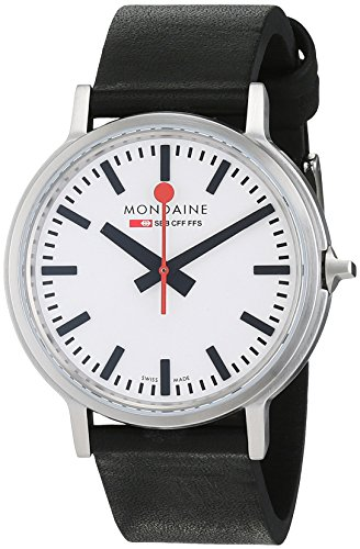 Mondaine Men's Quartz Watch with White Dial Analogue Display and Black Leather Strap A5123035816SBB