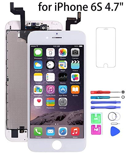 YOKIO LCD Touchscreen Für iPhone 6S Display Ersatz Bildschirm Front Komplettes Glas mit Werkzeuge Für iPhone 6S 4.7 ( Weiß)