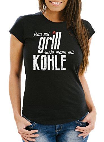 MoonWorks Lustiges Damen Fun T-Shirt Frau mit Grill Sucht Mann mit Kohle Slim Fit Schwarz M