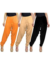 Eazy Trendz Women's Viscose Lycra Solid Patiala Pack Of 3-SKIN_BLACK_ORANGE