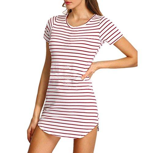 Elecenty Damen Hemdkleid T-Shirt Blusekleid T-Shirtkleid Sommerkleid Kleider Frauen Rundhals Kurzarm Mode Kleid Minikleid Kleidung (XL, Rosa) - Frottee Tunika Kleid