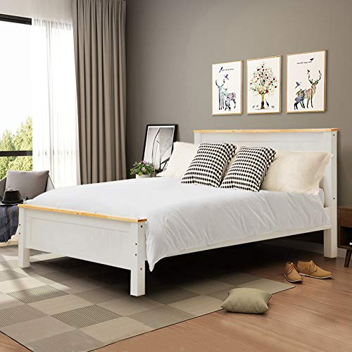 INMOZATA 5FT Solid Pine Wooden Bed Frame King Size Bed with Strong Headboard and Footboard Bedroom Furniture by Warmiehomy (White)