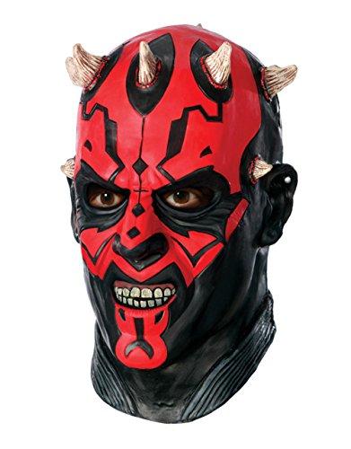 Darth Maul Deluxe Latex Maske, Star Wars Herren Kostüm (Darth Maul Maske Latex)