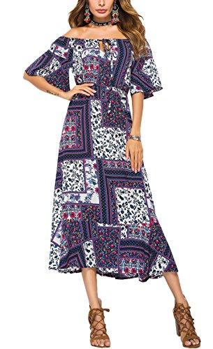 Ufatansy Les robes d'été des femmes dentelle manches longues hors épaule robe blanche robe de plage Swing Boho Dress