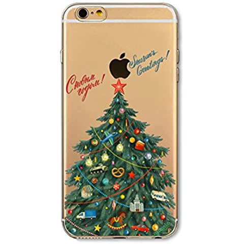 iPhone SE 5SE 5 5S Trasparente Case, Casefashion Fashion Ultra Slim Soft TPU Silicone Custodia Painting Design Protection Back Cover per iPhone SE 5SE 5 5S - Christmas Tree