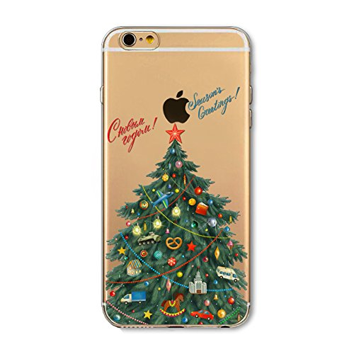 Christmas Hülle iPhone SE 5SE 5 5S LifeePro Weihnachts Cover Ultra dünn Weiches Transparent TPU Gel Silikon Handy Tasche Bumper Case Anti-Scratch Back Cover Full Body Schutzhülle für iPhone SE 5SE 5 5 Christmas Tree