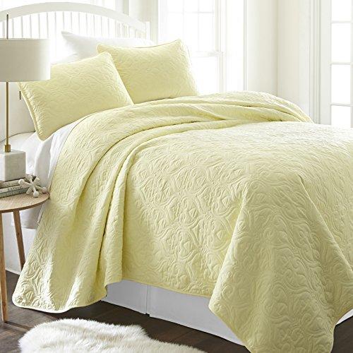 Simply Soft SS-Qlt-DA-K-GR Bettwäsche-Set für King-Size-Bett/California King Size, Grau Modern King Damask Yellow -