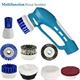 Fine Dragon Household Handheld Electric Power Scrubber IPX7 Handy cleaning brush with replaceable 8 brush heads for kitchen bathroom toilet shower window