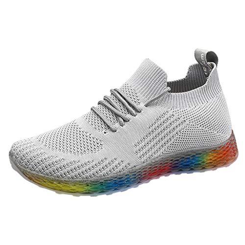Sportschuhe Damen Sneaker Leichte Turnschuhe Fliegendes Weben Socken Sport Schuhe Freizeit Atmungsaktiv Laufschuhe Slip On Bequeme Strick Freizeitschuhe Schnürschuhe (EU:39, Grau)