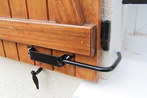 BLOQUE VOLET NOIR: 2 Arrêts de volet avec poignée pour ouvrir et fermer facilement tous volets battants sans se pencher. Blocage des volets ouverts. Facilité et sécurité au quotidien.