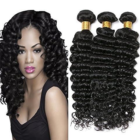 Silkylong Peruvian Virgin Hair Deep Wave Curls Human Hair 3 Bundles Weaves 100% Unprocessed Hair Extensions hair Natural Black Color 18 20 22 inch 100g/Pc