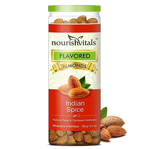 Nourish Vitals Roasted Almonds Indian Spice Flavored – 150 gm