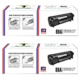 #10: AB 88A Black Toner Cartridge CC388A Compatible for HP LaserJet - P1007 P1008 P1106 P1108 M1136 MFP M202 M202n M202dw M226dw M226dn M1213nf M1216nfh M1218nfs M126nw M128fn M128fw (Pack of 2)