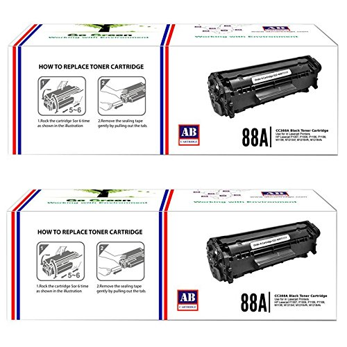 AB 88A Black Toner Cartridge CC388A Compatible for HP LaserJet - P1007 P1008 P1106 P1108 M1136 MFP M202 M202n M202dw M226dw M226dn M1213nf M1216nfh M1218nfs M126nw M128fn M128fw (Pack of 2)  available at amazon for Rs.1220