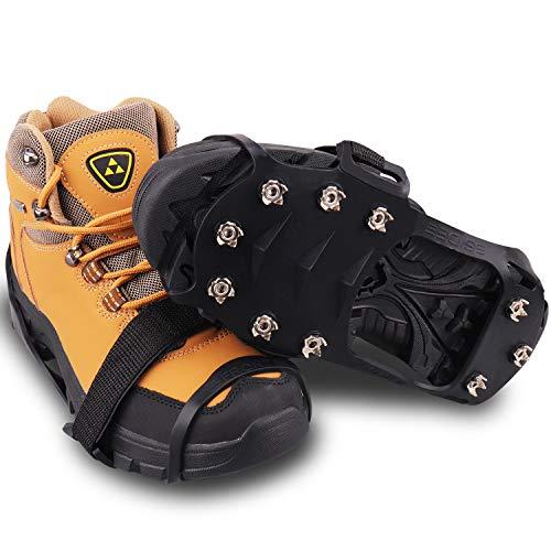 Win.MAX Steigeisen, Schuhe Spike mit Edelstahl Zähne und Silikon Band Anti Rutsch auf EIS und Schnee für Wandern Bergschuhe Stiefel usw