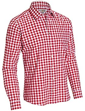 Almsach Herren Slim Fit Trachten Hemd LF105 rot