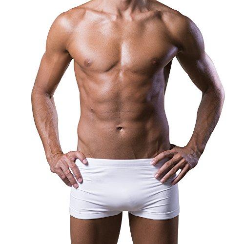 Dr.Walt Herren Boxer-Shorts Unterwäsche Produziert mit Sport Technische Garne Super Confortable Nahtlos, Haut Immer trocken, kein Bügeln-XXL-White -