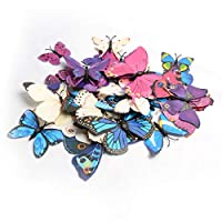 36PCS Butterfly Wall Stickers -12pcs White, Blue, Purple 3D Butterflies Each Color - Magnet and Dot Glue Stick On, DIY Wall Art Decals Murals for Kids Rooms Decorations