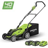 Greenworks Tondeuse à gazon sans fil sur batterie 35cm 40V Lithium-ion avec 2 batteries 2Ah et chargeur - 2501907UC