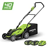 "Greenworks 40V Cordless Lawn Mower 35cm (14"") with 2x 2Ah batteries and chager"