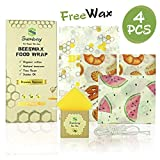 Sumbay Emballage Alimentaire Reutilisable en Cire d'abeille   Bees Wrap   Film Alimentaire Ecologique Lavable pour Conserver Vos Aliments   Lot de 4 : 1 Petit, 2 Moyens, 1 Grand et Cire d'Entretien