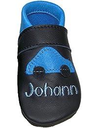Mopus Mopu's® Krabbelschuhe - Lederpuschen in Blau mit Auto und individueller Bestickung - Wunschnamen - Kosewort