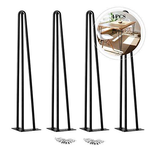 Oakome 4 X Pieds de Table en Epingle à Cheveux avec 20 Vis Construction en Acier Double Soudage Supérieur Pied Style Moderne / Rétro Remplacement de Tables / Chaises / Meuble pour DIY et Fabricants (16 inches*12mm*soutien 3)