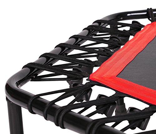 SportPlus Fitness Trampolin, Bungee-Seil-System, Ø 110 cm, bis 130 kg Benutzergewicht, TÜV Süd Sicherheit geprüft, rot - 4