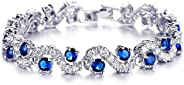 Valentine Gift By Shining Diva Collection Silver Plated Charm Bracelet for Women (Royal Blue)(vg9576b)