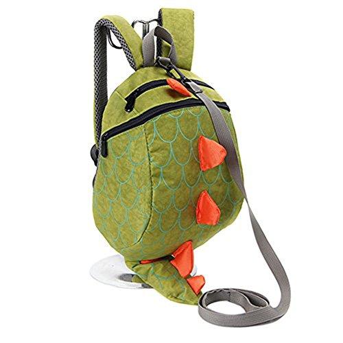 Kinder nette Karikatur-Rucksack-Beutel-verlorene Tasche Dinosaurier-Shaped (Grün)