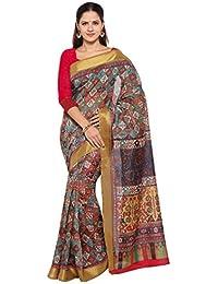 Rajnandini Women's Tussar Silk Printed Saree(JOPLNB8005_Multicolor_Free Size)