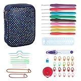 Teamoy Serie de Crochet Kits de Ganchillo Estuche para Crochet Organizador de Agujas Bolsa de Herramientas Juego del Ganchos (incluido accesorios),gota colores